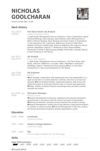 Qa Analyst Resume samples - VisualCV resume samples database