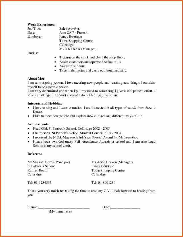 20+ Resume For Teenager First Job | 10 Resume Samples For First ...