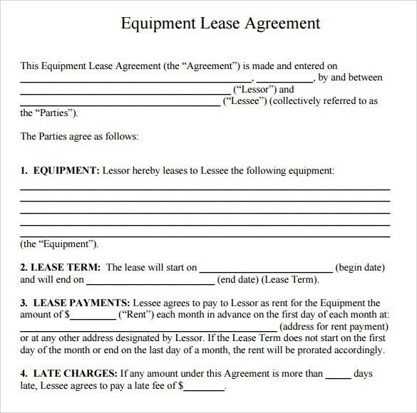 Equipment Lease Agreement Template. Simple Equipment Rental ...