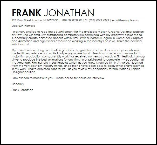 Motion Graphic Designer Cover Letter Sample | LiveCareer