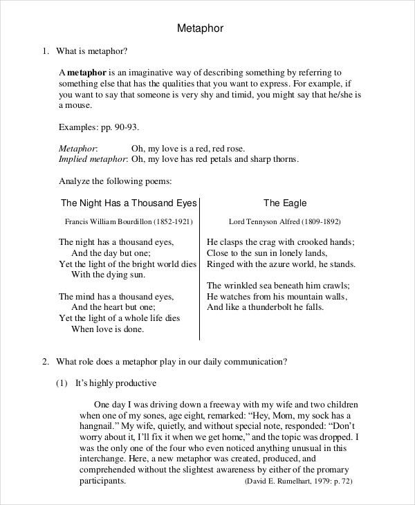 9+ Metaphor Examples   Free & Premium Templates