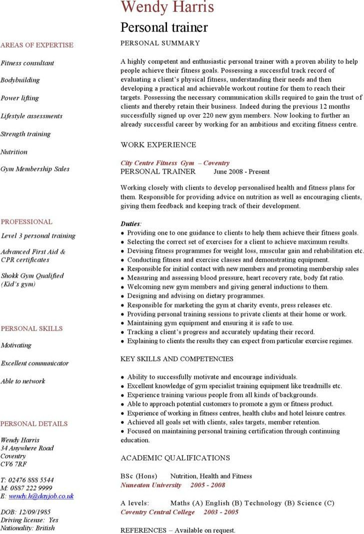 Personal Trainer Resume Templates Free. fake resume example ...