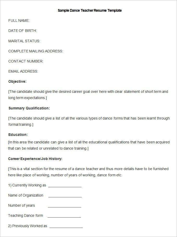 Dance Teacher Resume Sample - Best Resume Collection