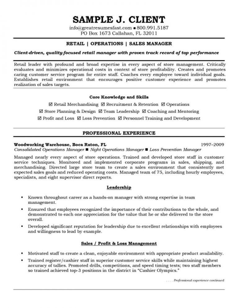 Winsome Resume Examples For Retail 10 Samples Sample Profit And ...