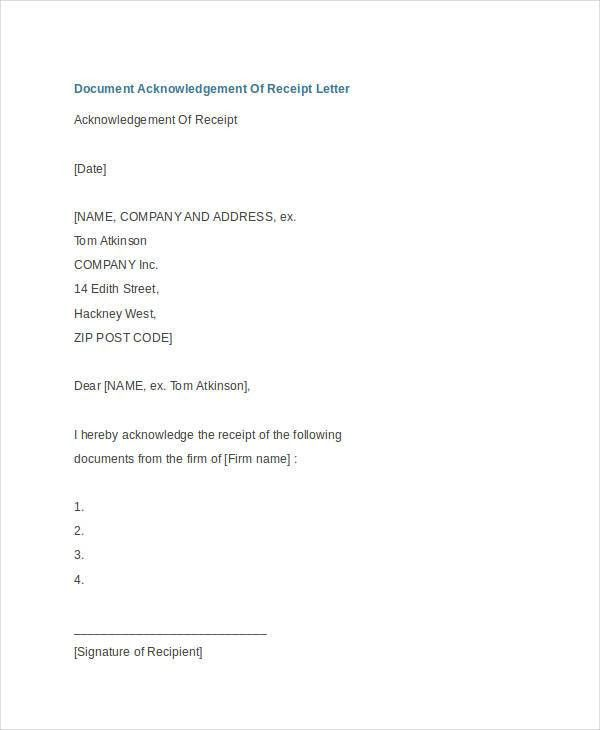 Receipt Acknowledgement Letter Templates - 7+ Free Word, PDF ...