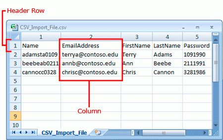Prepare a CSV File to Import New Exchange Online Users