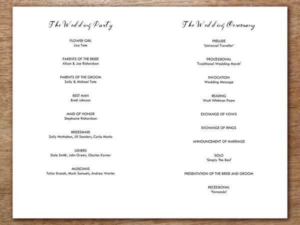 Printable Wedding Program - Vintage Roses – e.m.papers