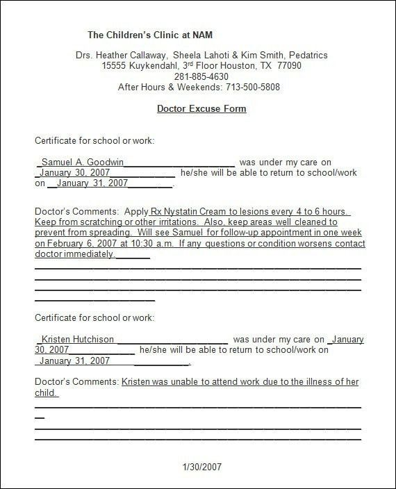 Urgent Care Doctors Note Template | onlinecashsource