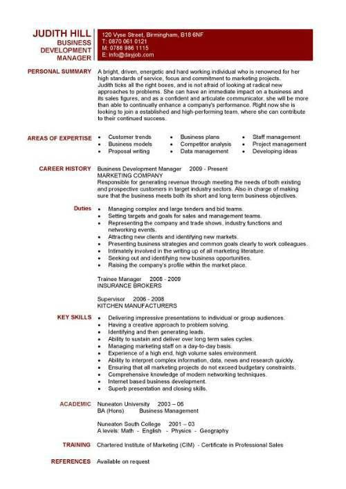 Business Development Manager CV manager personal summary - Writing ...