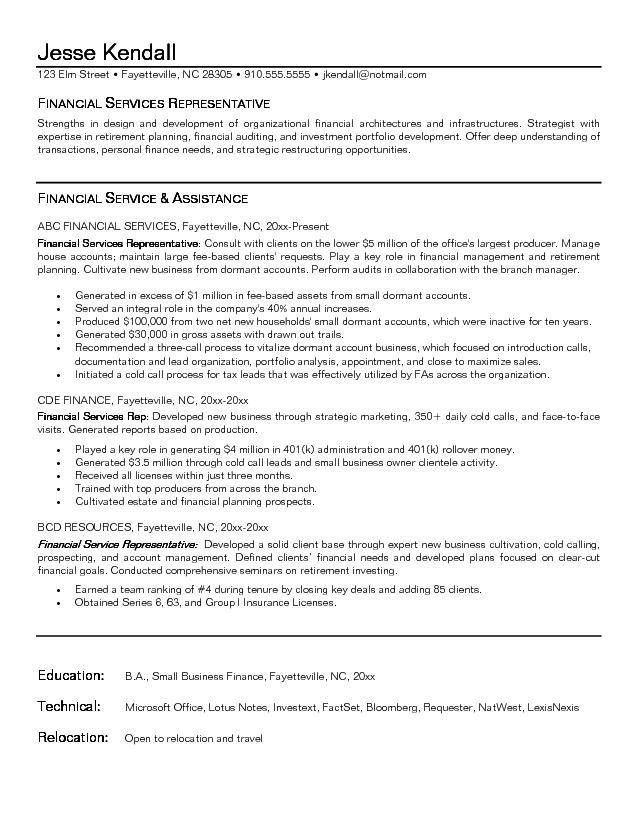 free financial service representative resume example