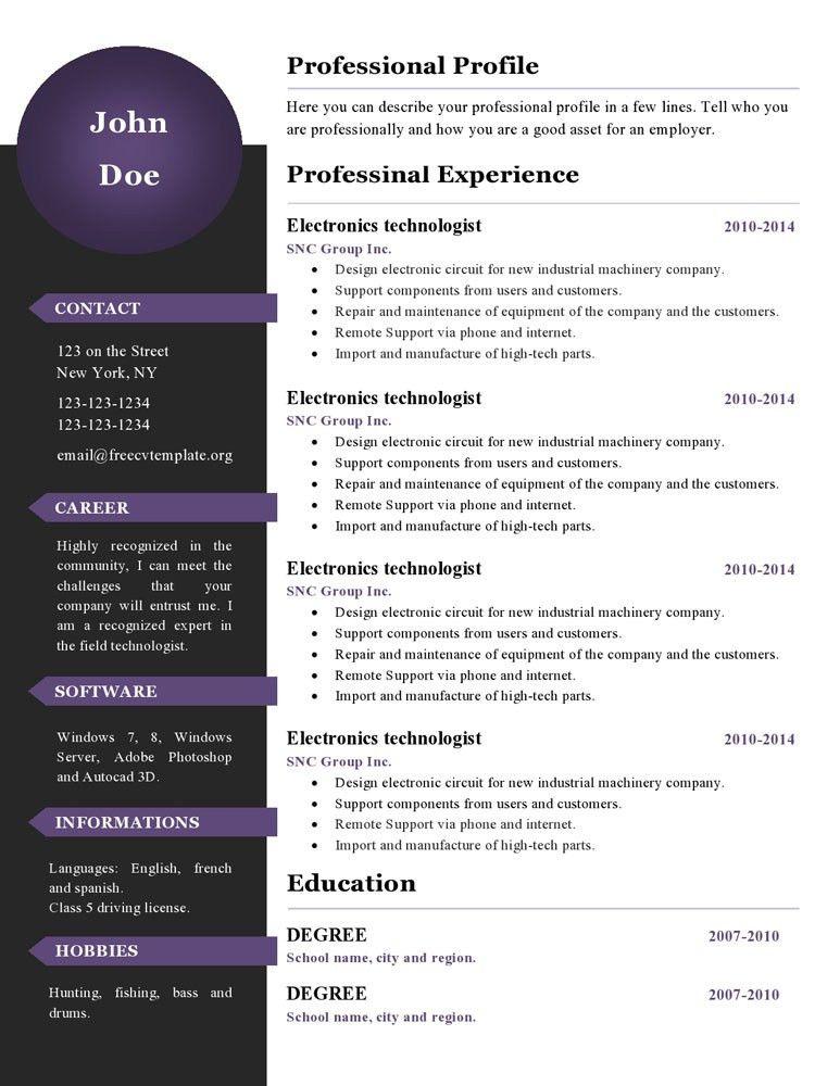 Curriculum vitae resume templates #386 to 391 – freecvtemplate.org