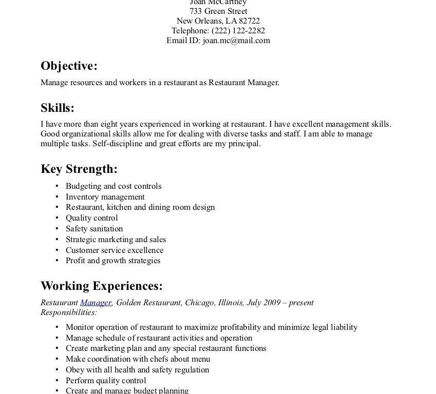 Restaurant Manager Resume Examples 54 | Samples.csat.co
