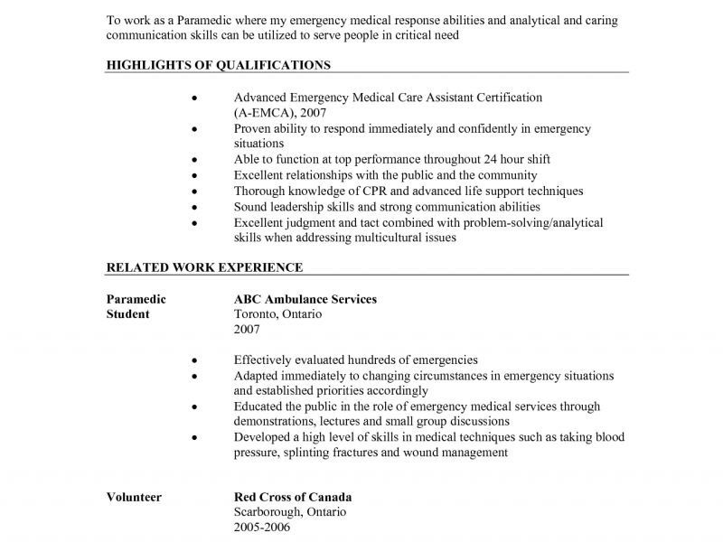 paramedic cover letters