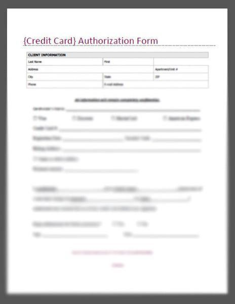 Credit Card Authorization Form Template | peerpex