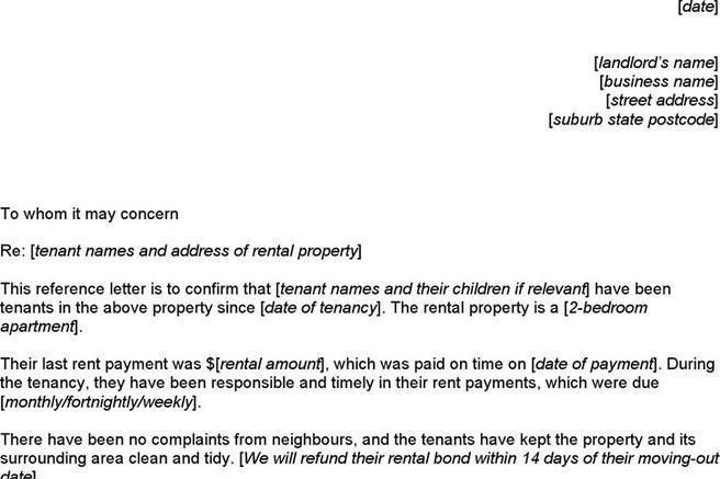 Reference Letter For Apartment. Basic Landlord Reference Letter 14 ...