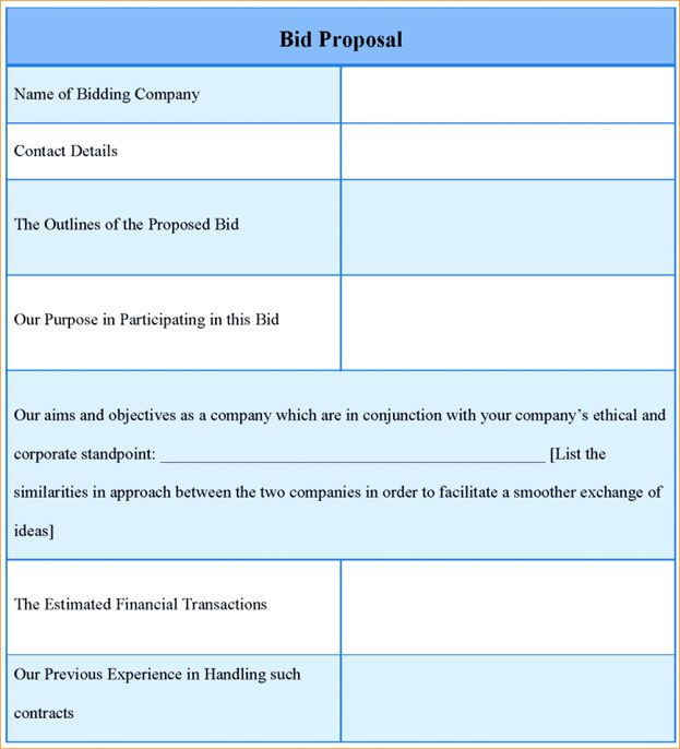 Bidding Proposal Template Sample Construction Bid Letter 7 ...