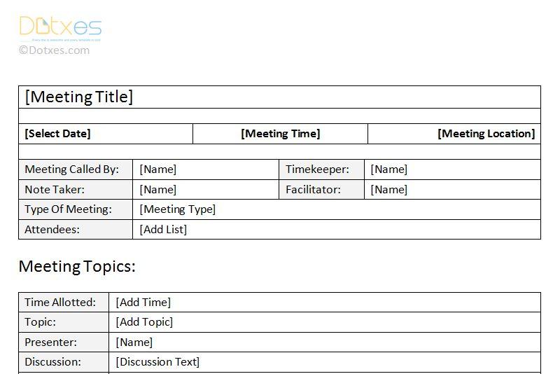 Meeting Minutes Format Clean Format - Dotxes