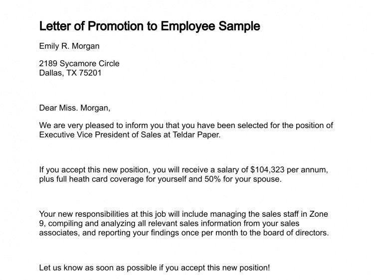 Employee Promotion Recommendation Letter Sample | The Letter Sample