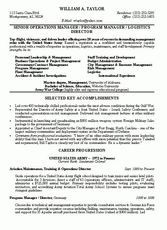 sample resumes, military conversion resume, operations manager resume