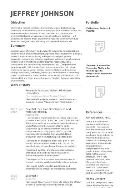 Research Assistant Resume Sample | jennywashere.com