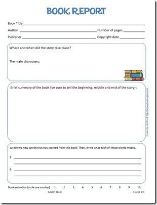 Book Report and reading log printables for kids. #language ...