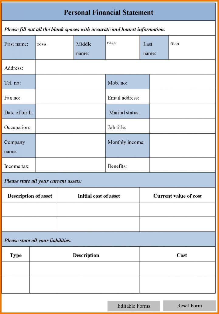 12 blank personal financial statement | Financial Statement Form