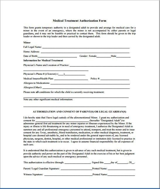 Consent To Treat Form | Business Form Templates