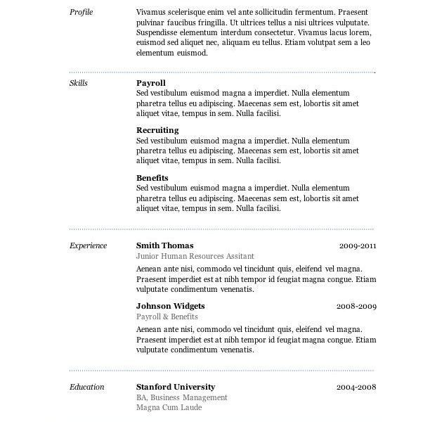 resume template word 2007 free