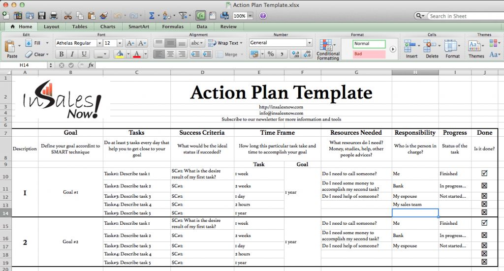 Free Action Plan Template - In Sales Now !