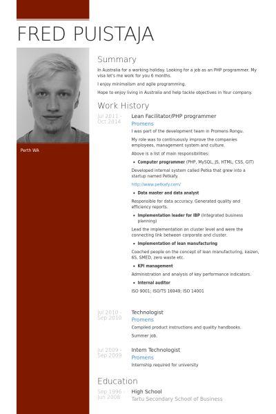 Programmer Resume samples - VisualCV resume samples database