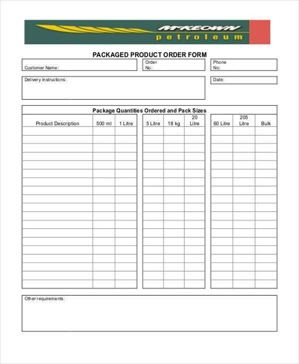 9 Product Order Templates - Free Sample, Example Format Download ...