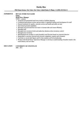 Retail Store Manager Resume Sample | Velvet Jobs