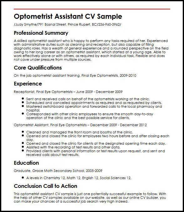 Resume Format For Optometrist | Resume Format