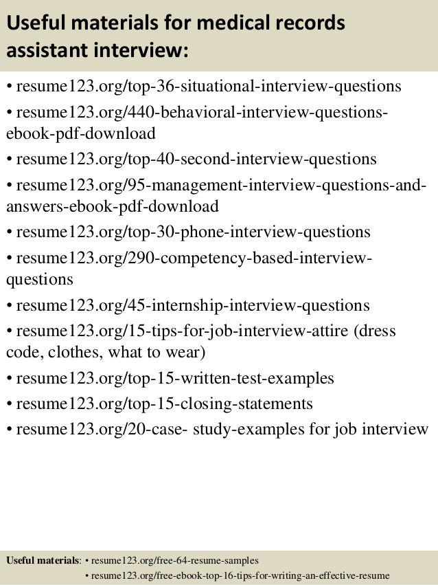 Top 8 medical records assistant resume samples
