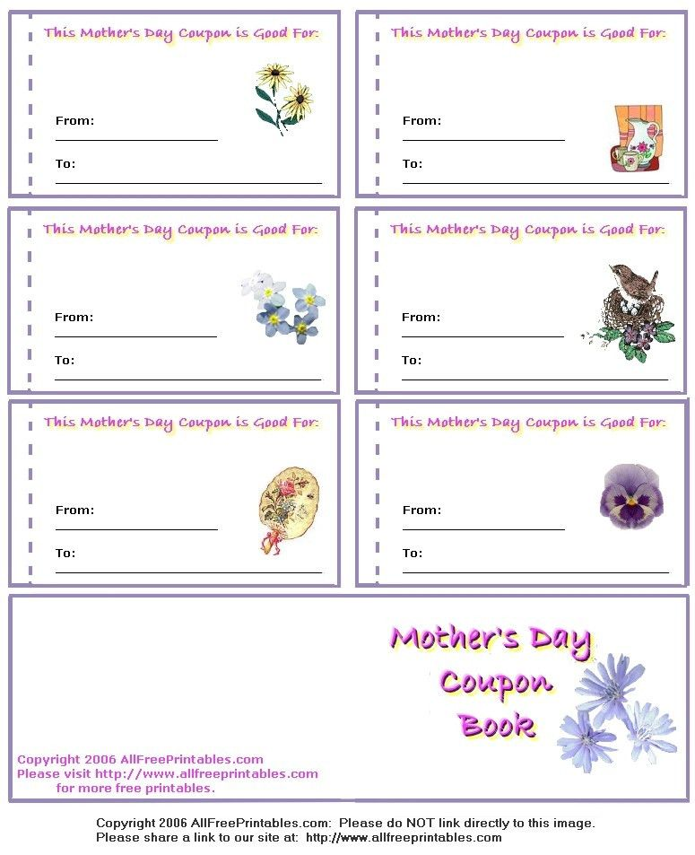 Mother's Day Printables, Mother's Day Cards, Coupon Books and ...