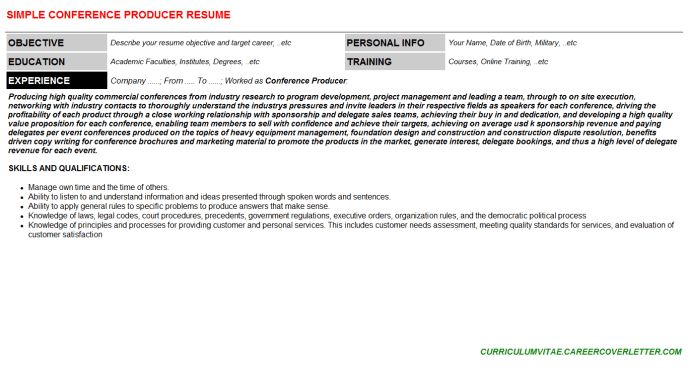 Conference Producer Cover Letter & Resume