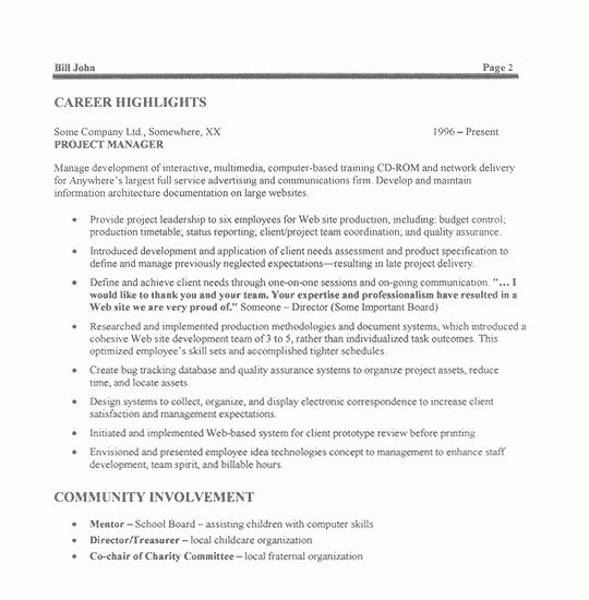 Super Cool Project Manager Sample Resume 2 Project CV Template ...