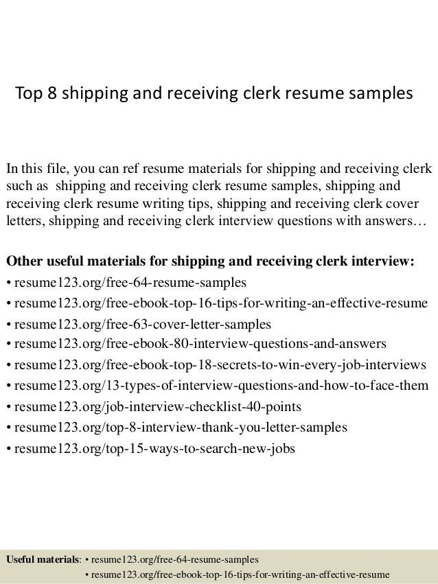 Peachy Shipping And Receiving Resume 5 Warehouse Clerk - Resume ...