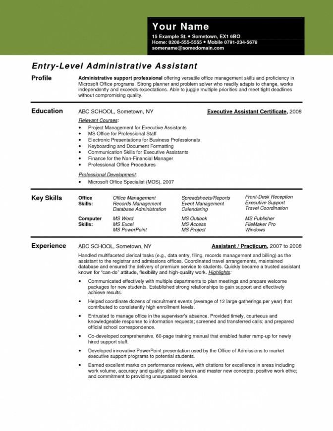 Entry Level Administrative Assistant Resume Sample | Template Design