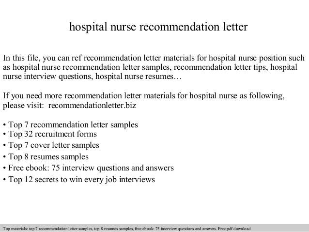 Hospital nurse recommendation letter