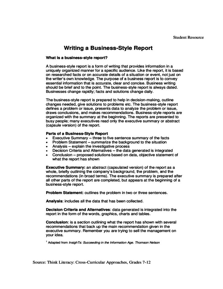 Business Report Template with Guidelines Free Download