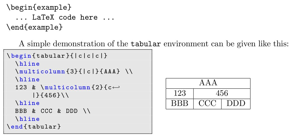 A LaTeX example environment - Lennart's weblog