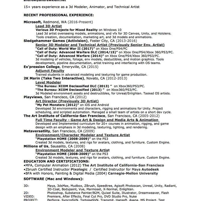 3d artist resume samples
