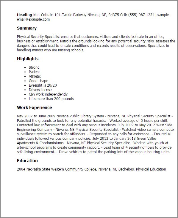 High Quality Security Specialist Resume Examples Pertaining To Security Specialist Resume