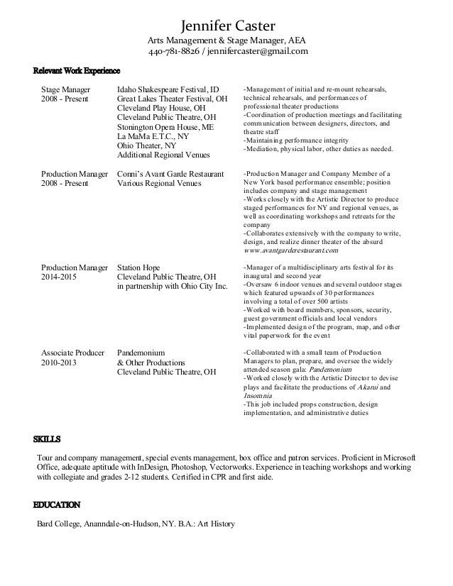 Arts Management Resume, JCaster v3_8