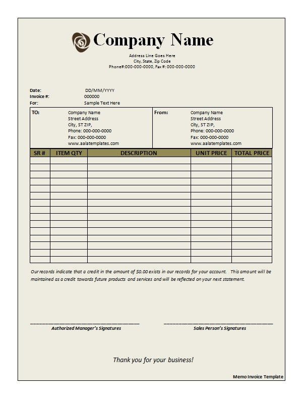 Memo Invoice Template - Printable Word, Excel Invoice Templates ...