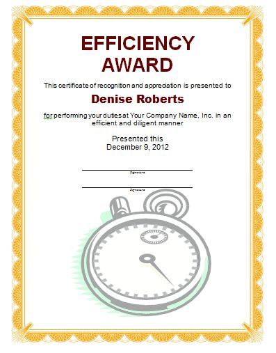 Efficiency Award Certificate Template | Free Layout & Format