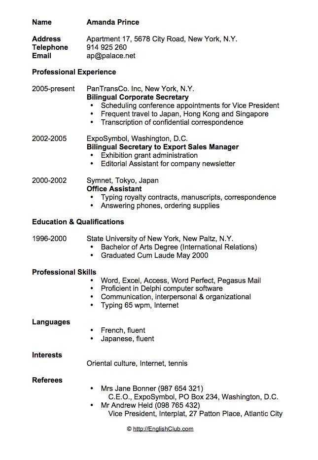 Sample resume/CV for secretary | English Club