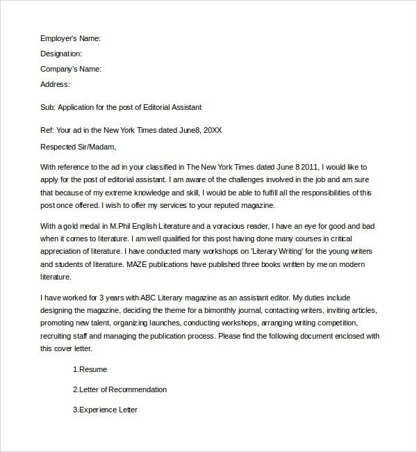 Captivating Editorial Assistant Cover Letter. Sample Editorial Assistant Cover .