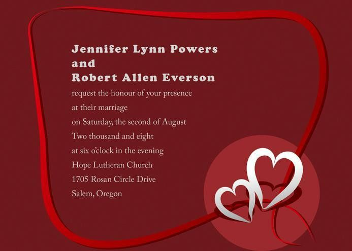 simple red double wedding invitations with free response cards ...